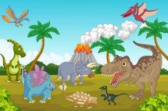 Cute dinosaur cartoon happy Royalty Free Stock Photos