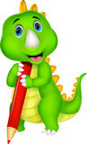 Cute dinosaur cartoon holding red pencil Royalty Free Stock Photo