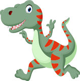 Cute dinosaur cartoon running Stock Photos