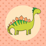 Cute dinosaur in cartoon style with footprint on background Stock Photography