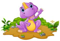 Cute dinosaur cartoon waving Stock Photography