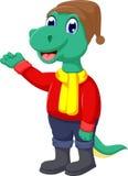 Cute dinosaur cartoon waving Stock Photo