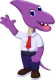 Cute dinosaur cartoon wearing school uniform Stock Images