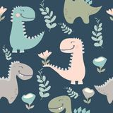 Vector illustration.cute dinosaur drawn as vector for kids fashion royalty free illustration