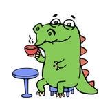 Cute dinosaur sitting in a cafe. Cute dinosaur drinking coffee illustration. cartoon character Royalty Free Stock Photos