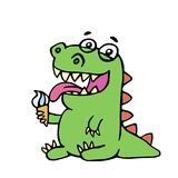 Cute dinosaur eating ice cream. vector illustration. Cartoon character Stock Images