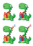Cute dinosaur with a gift set. Illustration of a cute dinosaur with a gift set Stock Photography