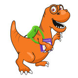 Cute dinosaur with glasses and textbook wearing backpack walking to school Stock Photography