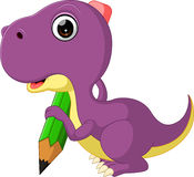 Cute dinosaur holding pencil Royalty Free Stock Images