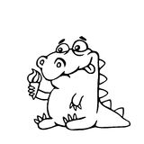 Cute dinosaur with ice cream. Vector illustration. Royalty Free Stock Photography
