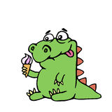 Cute dinosaur keeps ice cream. vector illustration royalty free stock photography