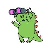 Cute dinosaur looking through binoculars. Vector illustration. Stock Images