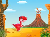 Cute dinosaur mascot with volcano background Stock Image