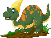 Cute Dinosaur Parasaurolophus cartoon posing Stock Image