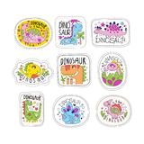 Cute dinosaur patches set, trendy colorful unicorn stickers in different actions vector Illustrations on a white royalty free illustration