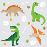 Cute dinosaur pattern swatch. This pattern swatch can be used to create patterns, and all the elements can be used separately. All elements are grouped together vector illustration