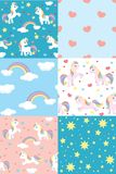 Cute cartoon unicorn pattern swatch. This pattern swatch set can be used to create patterns, and all the elements can be used separately. All elements are vector illustration