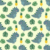 Cute dinosaur with pineapple and palm leaves seamless pattern. stock illustration