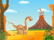Cute dinosaur posing with the prehistoric background Royalty Free Stock Photo
