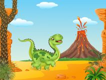 Cute dinosaur running in the prehistoric background Royalty Free Stock Photography