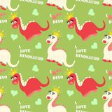 Cute dinosaur seamless pattern. Adorable cartoon dinosaurs background. Colorful kids pattern for girls and boys. Vector texture in childish style for fabric Royalty Free Stock Images