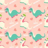Cute dinosaur seamless pattern. Adorable cartoon dinosaurs background. Colorful kids pattern for girls and boys. Vector texture in childish style for fabric Royalty Free Stock Photography