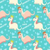 Cute dinosaur seamless pattern. Adorable cartoon dinosaurs background. Colorful kids pattern for girls and boys. Vector texture in childish style for fabric Stock Image