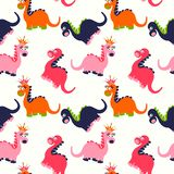 Cute dinosaur seamless pattern. Adorable cartoon dinosaurs background. Colorful kids pattern for girls and boys. Vector texture in childish style for fabric Stock Images