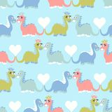 Cute dinosaur seamless pattern. Adorable cartoon dinosaurs background. Royalty Free Stock Images
