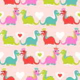 Cute dinosaur seamless pattern. Adorable cartoon dinosaurs background. Colorful kids pattern for girls and boys. Vector texture in childish style for fabric Royalty Free Stock Photos