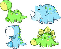 Cute Dinosaur Set. Vector Illustration Royalty Free Stock Photos