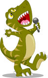 Cute dinosaur singing cartoon Royalty Free Stock Images