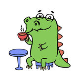 Cute dinosaur sitting in a cafe. vector illustration. stock photography
