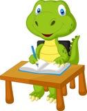 Cute dinosaur studying vector illustration