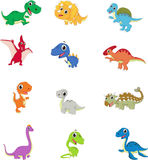 Cute dinosaurs cartoon collection set vector illustration