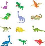 Cute dinosaurs cartoon collection set Stock Photos