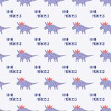 Cute dinosaurs with crowns seamless pattern on the dark background. Vector dino texture for kids. Design for nursery vector illustration