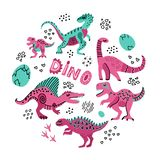 Cute dinosaurs hand drawn color vector illustration in round shape. Dino characters cartoon circle texture. Prehistoric royalty free illustration