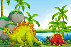 Cute dinosaurs in the park Stock Photo