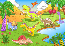 Cute dinosaurs in prehistoric scene Stock Photography