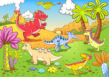 Cute dinosaurs in prehistoric scene Royalty Free Stock Images