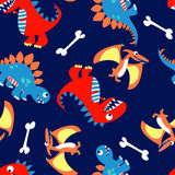 3 Cute dinosaurs in a seamless pattern.  Stock Photos