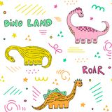 Cute dinosaurs seamless pattern stock photos