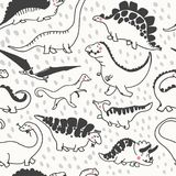 Cute dinosaurs seamless pattern. Funny cartoon dino. Hand drawn vector doodle design for girls, boys, kids in scandinavian style. Hand drawn children`s Stock Photos
