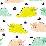 Cute dinosaurs seamless pattern. Funny cartoon dino. Hand drawn vector doodle design for girls, kids. Hand drawn children`s illustration for fashion clothes Stock Image