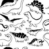 Cute dinosaurs seamless pattern. Funny cartoon dino. Hand drawn vector doodle design for girls, boys, kids in scandinavian style. Hand drawn children`s Stock Photo