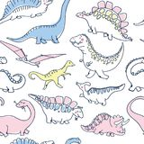Cute dinosaurs seamless pattern. Funny cartoon dino. Hand drawn vector doodle design for girls, kids. Hand drawn children`s illustration for fashion clothes Stock Photo