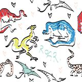 Cute dinosaurs seamless pattern. royalty free illustration