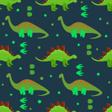 Cute dinosaurs seamless pattern. Vector background with cartoon green dinosaurs and footprints on dark Stock Photo
