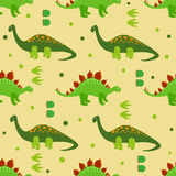 Cute dinosaurs seamless pattern. Vector background with cartoon dinosaurs. Kids design Royalty Free Stock Photos